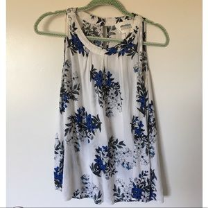 White and blue floral tank